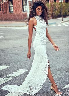 Buy discount Charming Lace Halter Neckline Sheath Wedding Dresses With Slit at Dressilyme.com