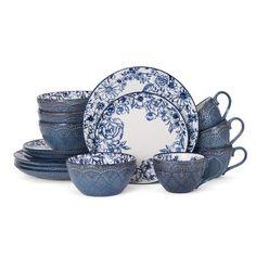 Pfaltzgraff Gabriela 16 Piece Dinnerware Set, Service for 4 Color: Blue Blue And White Dinnerware, Blue Dinnerware Sets, Stoneware Dinnerware Sets, China Dinnerware, Tableware, Kitchenware, Casual Dinnerware, Rustic Dinnerware, Porcelain Dinnerware