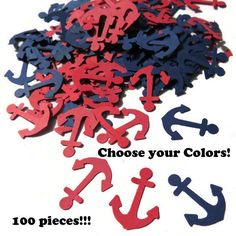 Anchor Confetti, nautical baby shower decorations, Ships in 3-5 Business Days, 100 pieces by PartyParts on Etsy https://www.etsy.com/listing/213798586/anchor-confetti-nautical-baby-shower