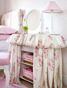 Kidney dressing table covers - The Dormy House. Also, I like the way the headboard is covered.