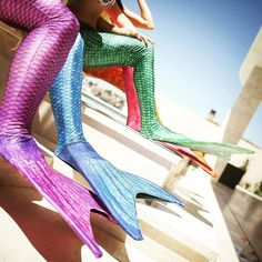We have fun collection of swimmable mermaid tails to choose from! What color do you like?  #FinFun #MermaidTails