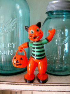 Vintage Halloween Collectible Rosbro Cat by santashauntedboot, $90.00