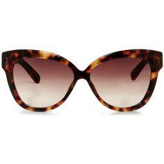 Linda Farrow Chunky Cat Eye Sunglasses ($540) ❤ liked on Polyvore featuring accessories, eyewear, sunglasses, glasses, brown, tortoise shell glasses, cateye sunglasses, tortoise cat eye glasses, cat eye sunglasses and tortoise cat eye sunglasses