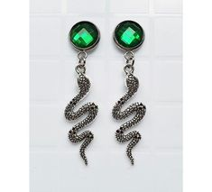 2bc4bed63bb1 earrings stud cameo cabochon faceted crystal green snake silver lilith  medusa slytherin nu goth gothic dark wiccan pagan occult witch boho