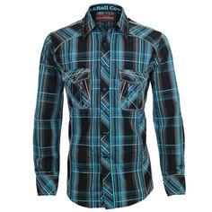Rock & Roll Cowboy Men's Plaid Long Sleeve Western Shirt #RRCB