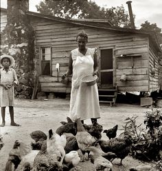 "July 1939. ""Noontime chores: feeding chickens on Negro tenant farm. Granville County, North Carolina."" View full size. Medium-format nitrate negative by Dorothea Lange for the Farm Security Administration."