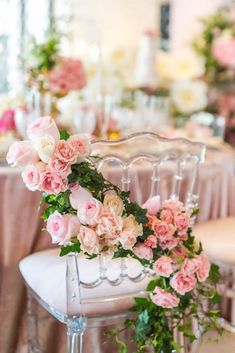 We're swooning over this elegant pink flowery baby shower by Chasing Pleasures. Budget Baby Shower, Party Chairs, Bloom Baby, Beautiful Baby Shower, Baby Shower Decorations For Boys, Pink Birthday, Flower Decorations, Table Decorations, Pink Flowers