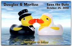Fun Save the Date Magnets - Fun Ducks. Save the Date Magnets can be humourous as well as serious. Our Fun Ducks style takes the humour to the next level. A blissful wedding. Customize with a wedding website or leave as is. Funny Save The Dates, Wedding Save The Dates, Let The Fun Begin, Have Fun, Youre The One, Save The Date Magnets, Wedding Website, Rubber Duck, Dating