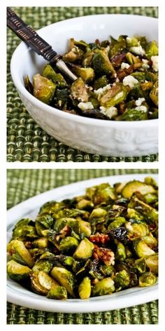 Roasted Brussels Sprouts with Pecans Recipe, with or without Gorgonzola Cheese. This can be a healthy Thanksgiving or Christmas Recipe that's special enough for the big day, whether or not you add the gorgonzola [from KalynsKitchen.com] #DeliciouslyHealthyLowCarb #GlutenFree