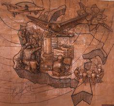 """Mural en honor a la Inteligencia Militar en casino de cadetes. Escuela Militar de Cadetes """"General José María Córdova"""" (ESMIC) del Ejército de Colombia. Bogotá- Colombia."""
