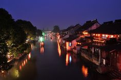 Xitang town in China in the evening. By calium, via Flickr