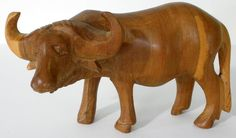 Hand Carved Wooden Water Buffalo/Bison Made In Kenya