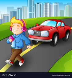 Boy walking listening music vector image on VectorStock Road Safety Poster, Safety Posters, Safety Rules For Kids, Child Safety, Play School Toys, Science Activities, Activities For Kids, Walking Cartoon, Safety Pictures