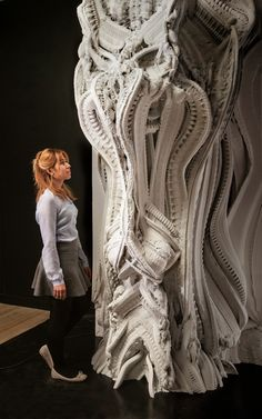 """psychetronictonic: """" Gallery - Printed """"Arabesque Wall"""" Features 200 Million Individual Surfaces Standing 3 meters feet) tall, Benjamin Dillenburger and Michael Hansmeyer's Arabesque Wall is an. Impression 3d, Arabesque, Machine 3d, 3d Art, 3d Printed Objects, 3d Printing Service, Digital Fabrication, Modelos 3d, Generative Art"""