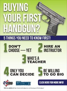 Are you buying your first handgun?  Check out these 5 things you need to know first!  Click to read more: http://americanhandgunner.com/buying-your-first-handgun/