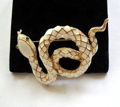 Signed FLORENZA Coiled Enamel Snake Brooch Pin by JoolsForYou