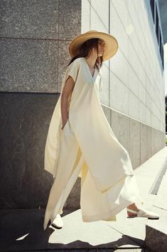 Wide hat, white flowy tunic & espadrilles: Rosetta Getty S/S 2015 #style #fashion