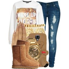A fashion look from April 2014 featuring Untitled  Co sweatshirts, Criminal Damage jeans and UGG Australia ankle booties. Browse and shop related looks.
