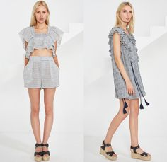 Apiece Apart 2016 Spring Summer Womens Lookbook Presentation - New York Fashion Week - Denim Jeans Blouse Tassels Ruffles Knit Fringes Crop Top Midriff Midi Skirt Frock Open Shoulder Stripes Mesh Perforated Jagged Angular Hem Strapless Drawstring Shirtdress Kaftan Tunic Zigzag Dress Wide Leg Trousers Palazzo Pants Culottes Gauchos Shorts Sash Waist Halter Top