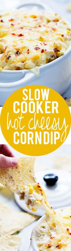Delicious and easy Slow Cooker Hot Cheesy Corn Dip made with just 4 ingredients! Corn Dip, Crock Pot Dips, Crock Pot Cooking, Slow Cooker Recipes, Crockpot Recipes, Cooking Recipes, Slow Cooker Dips, Dip Recipes, Appetizer Recipes