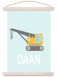 Poster kinderkamer kraanwagen auto met naam Letters, Design, Lettering, Fonts, Letter