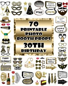 These Black and gold birthday photo booth props are a great addition to your 30th birthday celebration or photo shoot. The gold glitter and black photo booth prop set is a printable instant download of over 60 props. As a party favor and a game these birthday photo props are fun