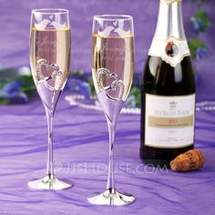 Personalized Favors - $58.39 - Personalized Lovely Birds Glass Toasting Flutes (Set of 2) (118040920) http://jjshouse.com/Personalized-Lovely-Birds-Glass-Toasting-Flutes-Set-Of-2-118040920-g40920