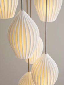 A Look at the Making of Original BTC's Hand-Cast, Bone China Fin Pendant - Design Milk Kitchen Pendant Lighting, Pendant Light Fixtures, Pendant Lamps, Brass Pendant, Pendant Lights, Ceramic Lantern, Suspension Design, Chandelier Lamp, Table Lamp
