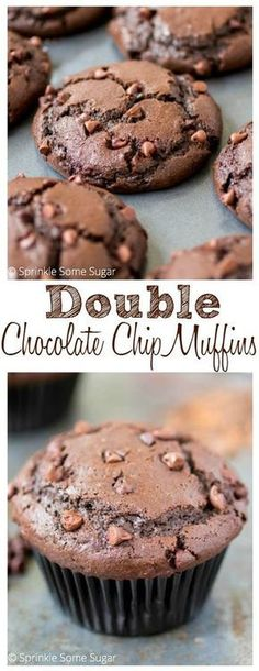 Intensely chocolatey, tender and super mois… Fudgy Double Chocolate Chip Muffins. Intensely chocolatey, tender and super moist. They make the perfect breakfast treat! No Bake Desserts, Just Desserts, Delicious Desserts, Dessert Recipes, Yummy Food, Cupcakes, Cupcake Cakes, Double Chocolate Chip Muffins, Chocolate Chip Cookies