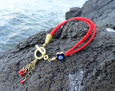 Gold Plated very unique red evil eye bracelet  by Handemadeit, $11.90