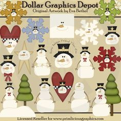 Snowmen and Snowflakes - $1.00 : Dollar Graphics Depot, Quality Graphics ~ Discount Prices