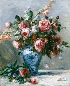 Pierre Auguste Renoir, vase of roses.