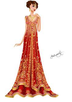 Asian inspired wedding gown 2 by Shehnoor2412.deviantart.com on @DeviantArt