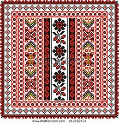 Vector ethnic ornament on the motives of Russian and Ukrainian embroidery on fabric with red and black elements