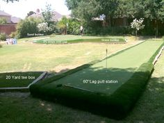 Very cool synthetic backyard golf practice facility by SYNLawn Golf. Putting Green Turf, Backyard Putting Green, Batting Cage Backyard, Pool Landscape Design, Backyard Games, Backyard Beach, Golf Practice, Backyard Landscaping, Summer Fun