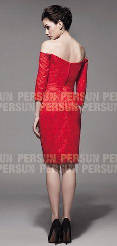 Robe cocktail épaule dégagée aux genoux en dentelle rouge avec ruban -  Persun.fr 62651bc08e33
