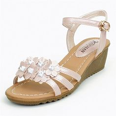 d9a5656df316 Adelina Women s Stylish Floral Straps Wedge Heel Buckle Sandals Pink 35 EU    4.5-5