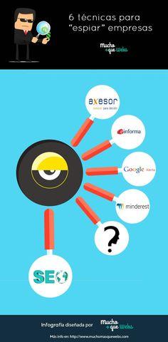 Infografia en castellano con 6 técnicas para espiar a tu competencia by @muchomasquewebs