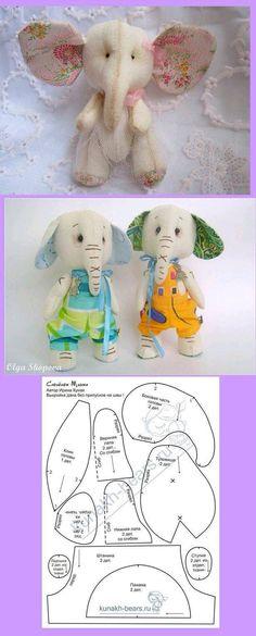 elephant pattern so cute Fabric Animals, Sock Animals, Sewing Stuffed Animals, Stuffed Animal Patterns, Sewing Toys, Baby Sewing, Sock Dolls, Elephant Pattern, Fabric Toys