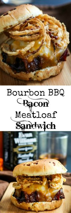 Delicious bacon topped meatloaf grilled in a Bourbon BBQ Sauce and topped off with onion straws makes this Bourbon BBQ Bacon Meatloaf Sandwich a hearty meal! Bourbon BBQ Bacon Meatloaf Sandwich wow say that three times fast. I know the name is long but Bacon Meatloaf, Meatloaf Sandwich, Grilled Meatloaf, Meatloaf Burgers, Leftover Meatloaf, Pizza Sandwich, Sandwich Ideas, Grilled Sandwich, Beef Recipes