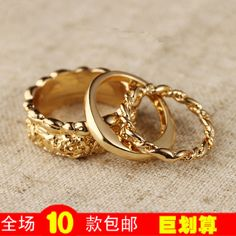 M40007 accessories korean yeh metal finger ring three pieces set female