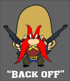 "Yosemite Sam ""Back Off"" Vinyl Decal / Sticker ** 4 Sizes ** Looney Tunes Characters, Classic Cartoon Characters, Looney Tunes Cartoons, Old Cartoons, Classic Cartoons, Funny Cartoons, Yosemite Sam, Comic Book Girl, Marvin The Martian"