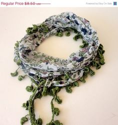 Summer SALE green scarf floral print cotton scarves by scarvesCHIC, $7.23