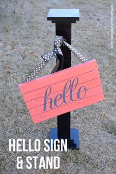 Coral Hello Sign and