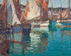 Edgar Alwin Payne (1882-1947). Breton Tuna Boats, Concarneau, France, c. 1924. Oil on Canvas 40 x 50 in.