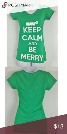 "Keep Calm And Be Merry Christmas Shirt Size M In great condition, Bust 32"" around, length 25"", material 60% cotton/ 40% polyester. Add to a bundle to receive 20% off 3 or more items. Offers welcomed. Bin p Hybrid Apparel Tops Tees - Short Sleeve"