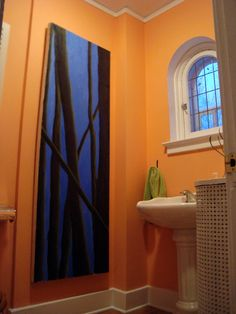 Love the color of this Cantelope painted bathroom. My Home Design, House Design, House, Indoor Design, Home Remodeling, Interior Design Color Schemes, Bathroom Colors, Bedroom Colors, Yellow Bathroom Tiles