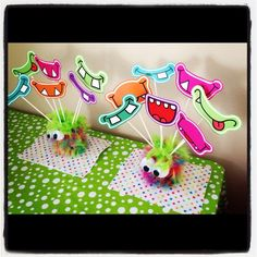 "Monster Party fun, Photo prop idea. Cute Monsters / Birthday ""Ellie's 1st Birthday Monster Bash"" 