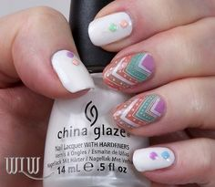 """Lola's Chevron Decals Mani:  Thumb, pointer, pinky, China Glaze """"Snow"""", Born Pretty Store studs; Middle & ring base, Deborah Lippmann """"Fashion""""; Decals, MoYou Fashionista 04, stamped with OPI """"Alpine Snow"""", colored with Barry M """"Berry"""", Essie """"Turquoise & Caicos"""", Essie """"Resort Fling""""; Seche Vite top coat."""