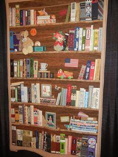 bookshelf quilt bowl applique | BBK (Bookcase Before Kindles) by Margaret Kessler of Huntsville, Texas; consider stuffed animals on shelves.